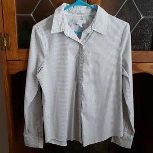 Liz Claiborne Pinstripe Button Up Long Sleeve